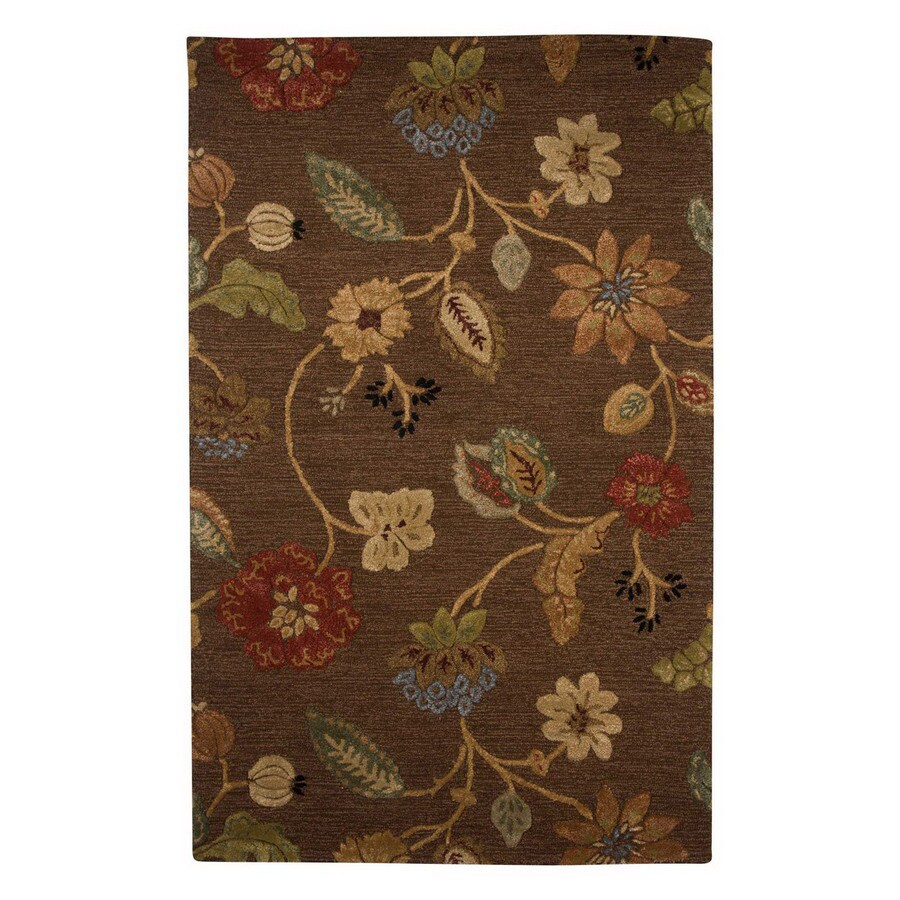Jaipur Blue Rectangular Multicolor Floral Wool Area Rug (Actual: 5-ft x 8-ft)