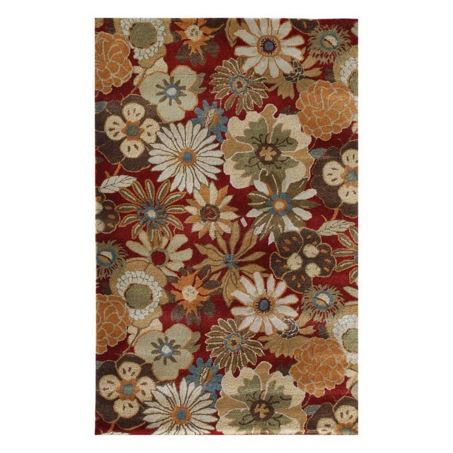 Jaipur Blue 8-ft x 11-ft Rectangular Multicolor Floral Wool Area Rug