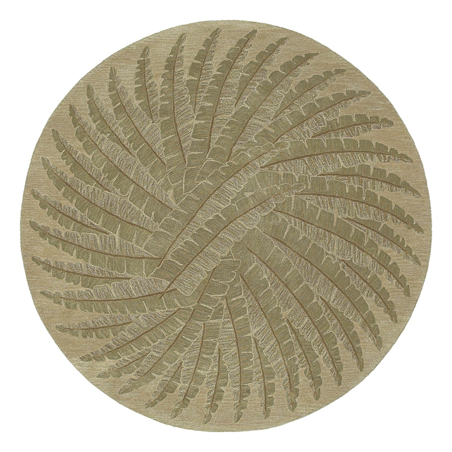Kaleen Tara Gold Round Indoor Hand-Knotted Area Rug (Common: 4 x 4; Actual: 3.75-ft Dia)