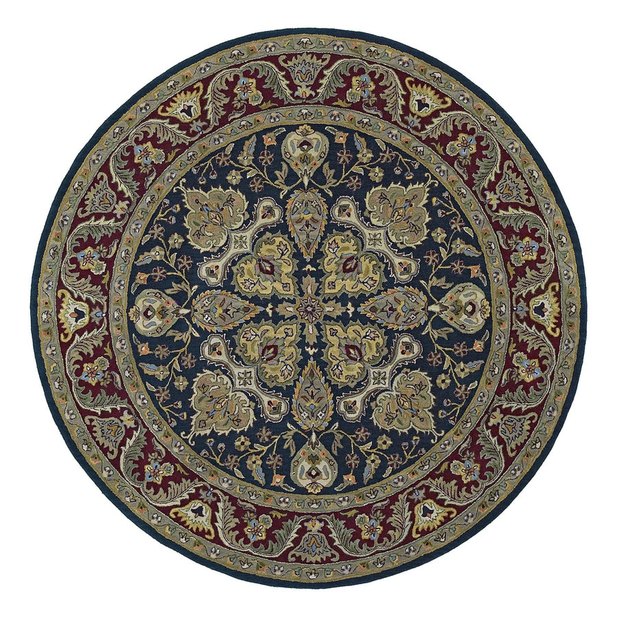 Kaleen Tara Navy Round Indoor Tufted Oriental Area Rug (Common: 10 x 10; Actual: 9.75-ft Dia)