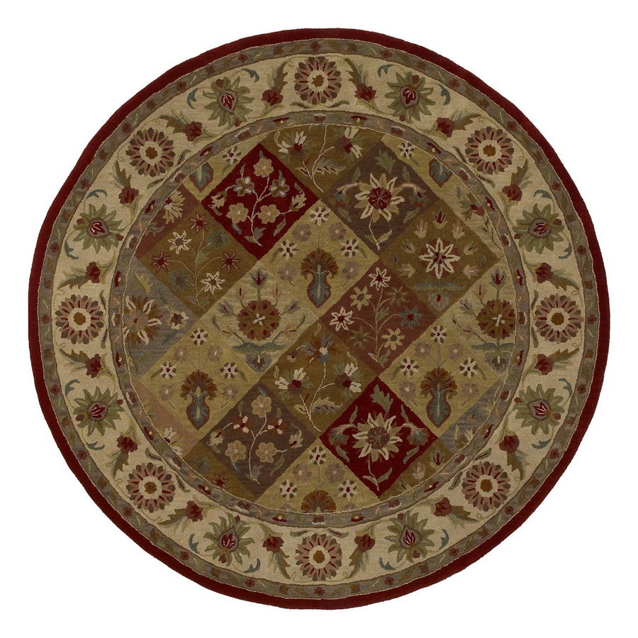 Kaleen Tara Round Multicolor Floral Wool Area Rug (Common: 12-ft x 12-ft; Actual: 11-ft 9-in x 11-ft 9-in)