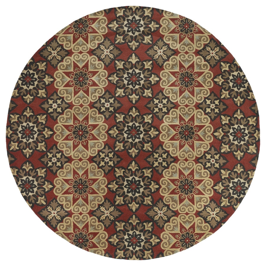 Kaleen Mystic Round Red Transitional Wool Area Rug (Common: 10-ft x 10-ft; Actual: 9-ft 9-in x 9-ft 9-in)