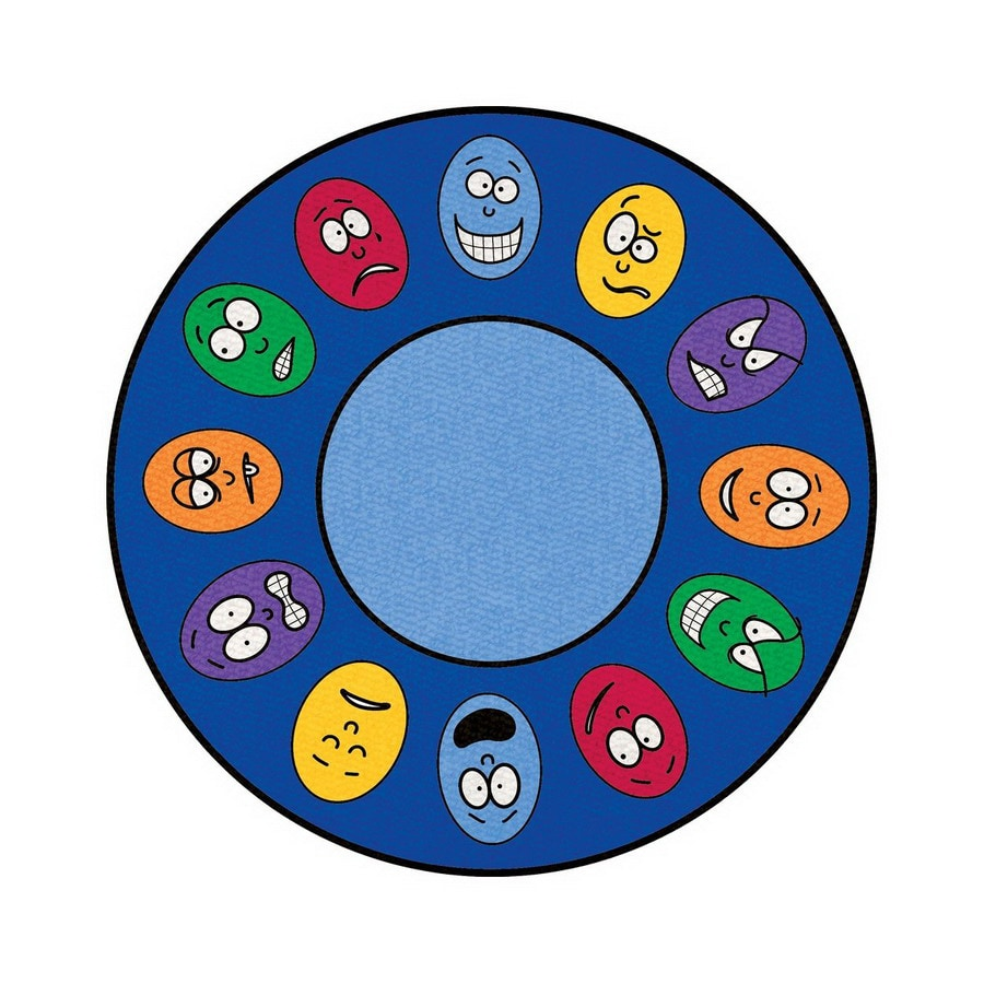 Learning Carpets Cut Pile Rug Round Blue Educational Area Rug (Common: 7-ft x 7-ft; Actual: 6-ft 6-in x 6-ft 6-in)