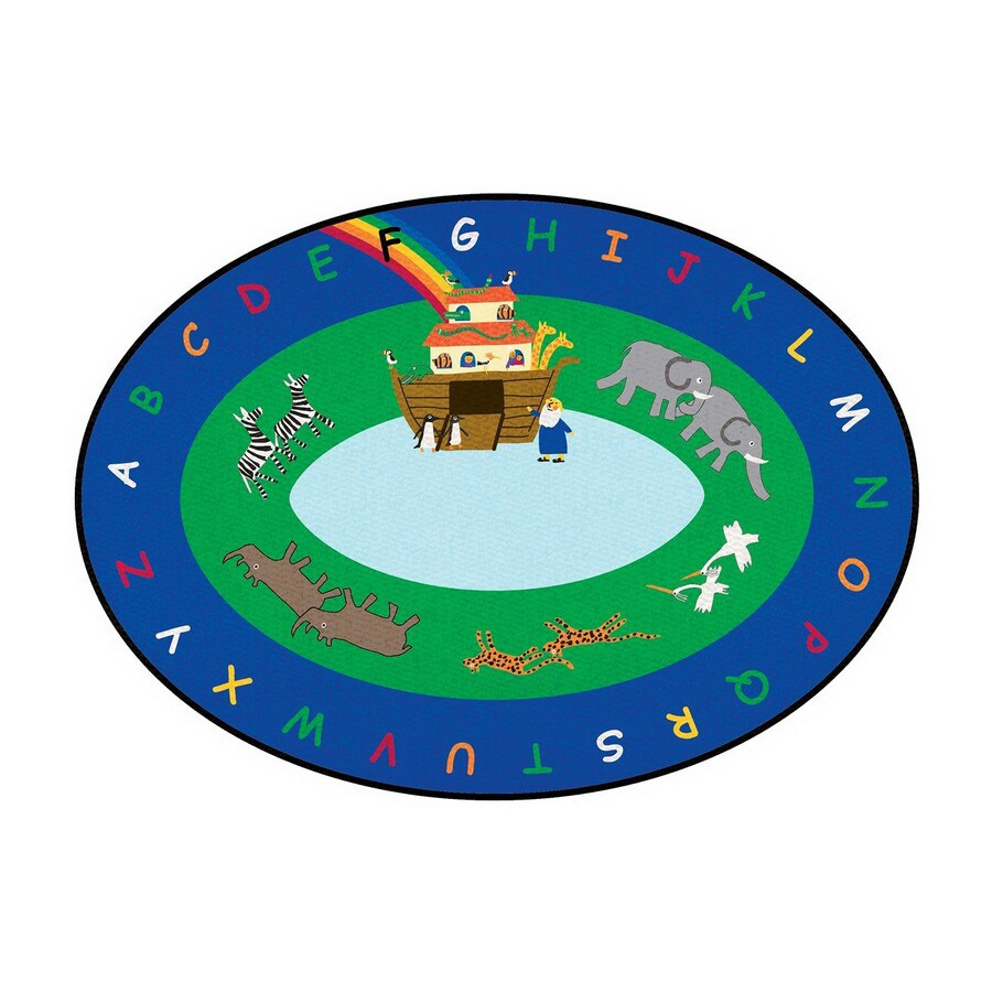 Learning Carpets Cut Pile Rug Oval Blue Educational Area Rug (Common: 9-ft x 12-ft; Actual: 8-ft 8-in x 13-ft 4-in)