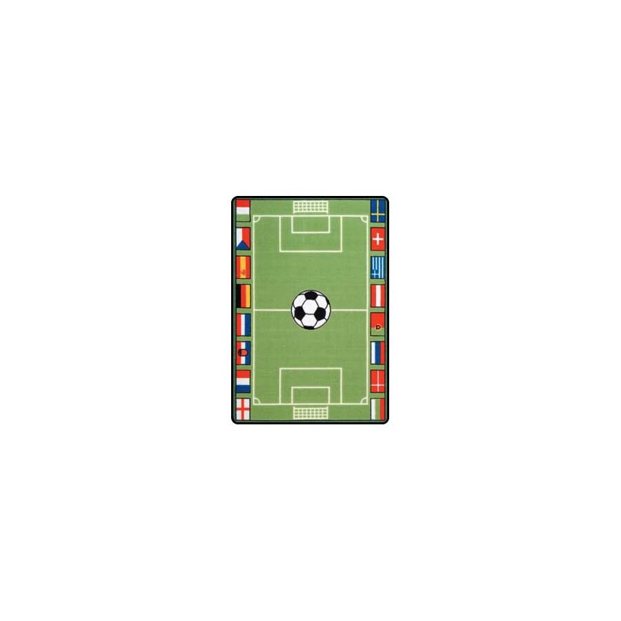 Learning Carpets Play Carpets Rectangular Green Sports Accent Rug (Common: 3-ft x 4-ft; Actual: 36-in x 52-in)