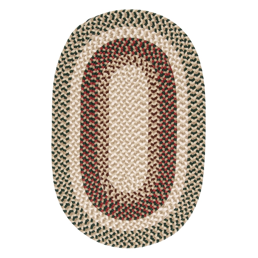 Colonial Mills Burmingham Green Acre Oval Indoor Braided Area Rug (Common: 7 x 9; Actual: 7-ft W x 9-ft L)