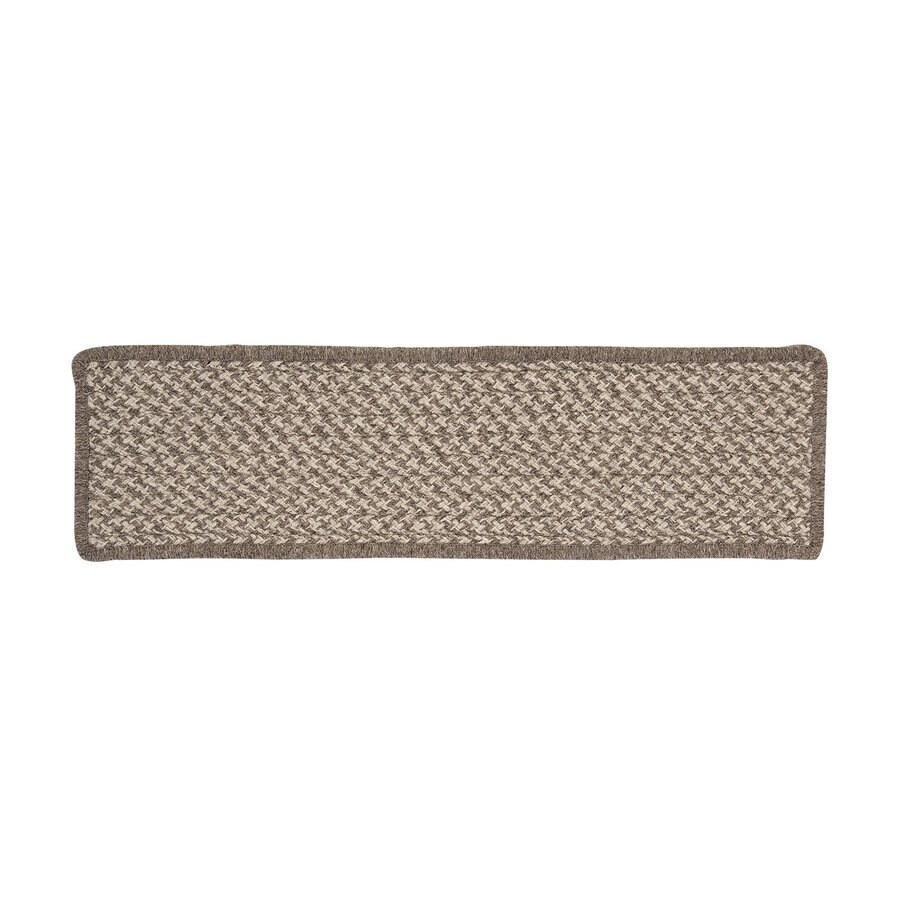 Colonial Mills 8-in x 28-in Natural Wool Houndstooth Latte Indoor Stair Tread Mat (Set of 13)