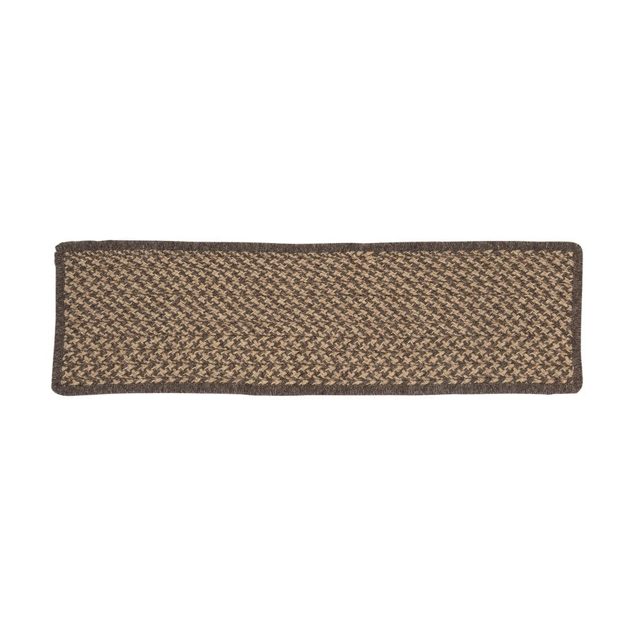 Genial Colonial Mills Natural Wool Houndstooth Brown Rectangular Stair Tread Mat  (Common: 1/2