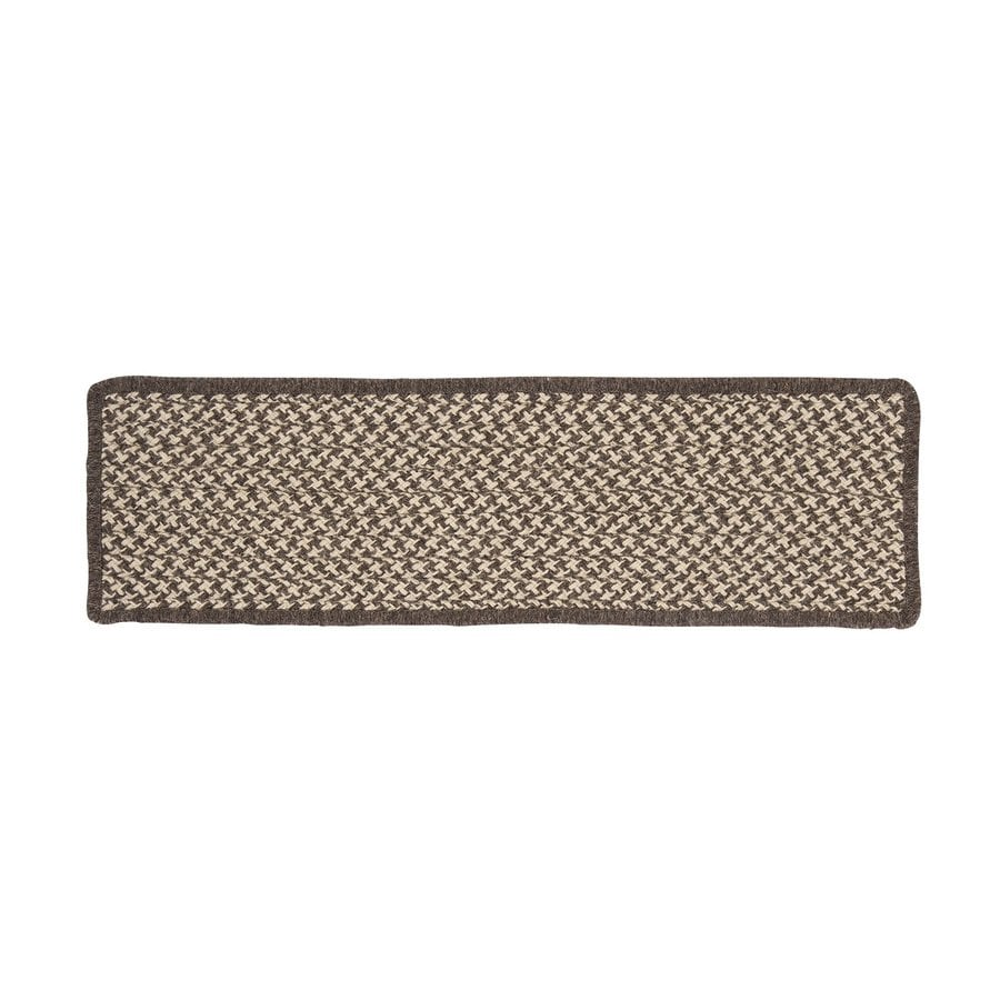 Colonial Mills 8-in x 28-in Natural Wool Houndstooth Espresso Indoor Stair Tread Mat (Set of 13)