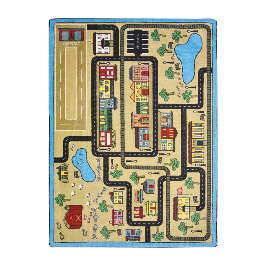 Joy Carpets Tiny Town Rectangular Indoor Tufted Kids Area Rug (Common: 5 x 8; Actual: 5.33-ft W x 7.66-ft L)