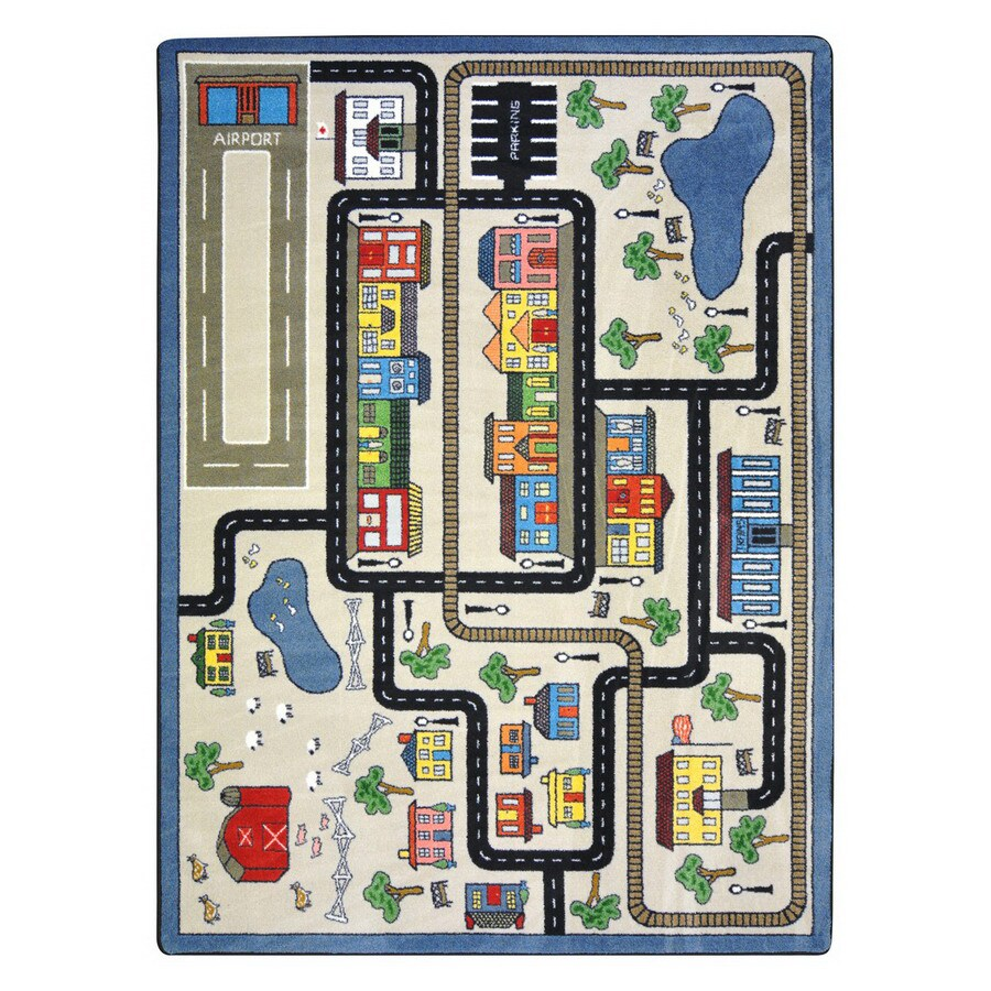 Joy Carpets Tiny Town Rectangular Indoor Tufted Kids Area Rug (Common: 5 x 8; Actual: 64-in W x 92-in L)