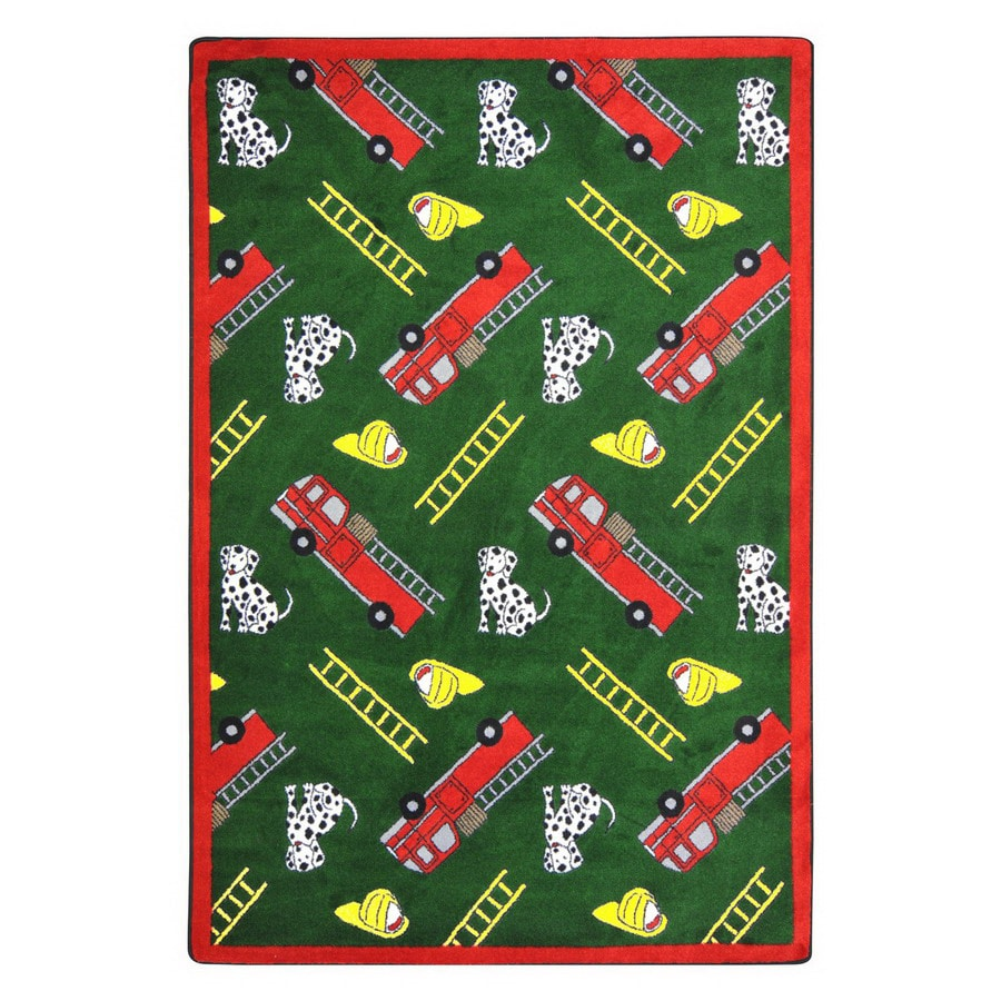 Joy Carpets Hook and Ladder 129-in x 92-in Rectangular Multicolor Holiday Indoor Use Only Area Rug