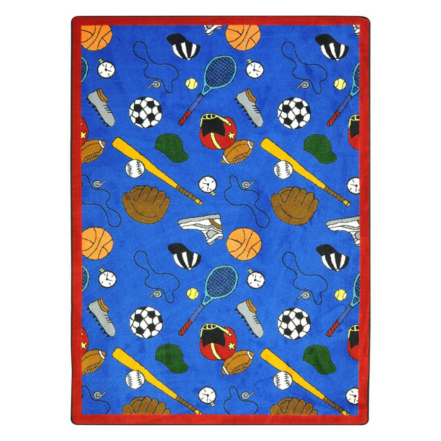 Joy Carpets Multi-Sport 7-ft 8-in x 5-ft 4-in Rectangular Multicolor Sports Area Rug
