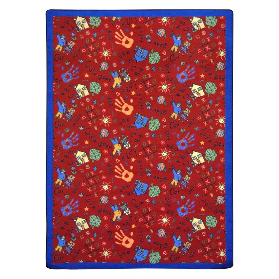 Joy Carpets Scribbles Rectangular Indoor Tufted Kids Area Rug (Common: 5 x 8; Actual: 64-in W x 92-in L)
