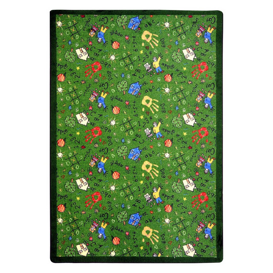Joy Carpets Scribbles 11-ft 2-in x 10-ft 9-in Rectangular Multicolor Educational Area Rug