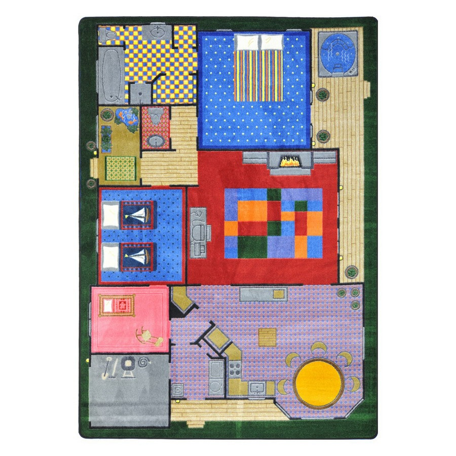 Joy Carpets Creative Play House Rectangular Indoor Tufted Kids Area Rug (Common: 4 x 5; Actual: 3.83-ft W x 5.33-ft L)