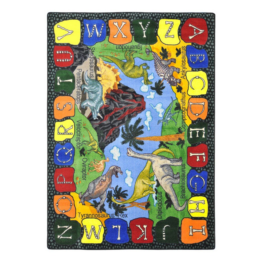 Joy Carpets We Dig Dinosaurs Rectangular Indoor Tufted Educational Area Rug (Common: 4 x 5; Actual: 3.83-ft W x 5.33-ft L)