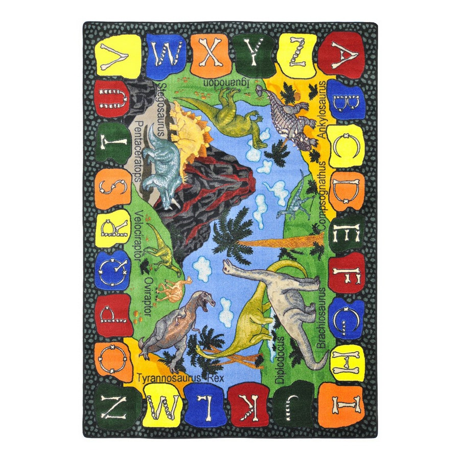 Joy Carpets We Dig Dinosaurs Rectangular Indoor Tufted Educational Area Rug (Common: 5 x 8; Actual: 5.33-ft W x 7.66-ft L)