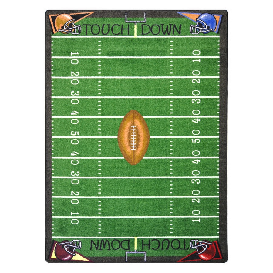 Joy Carpets Football Fun Rectangular Indoor Tufted Sports Area Rug (Common: 5 x 8; Actual: 5.33-ft W x 7.66-ft L)