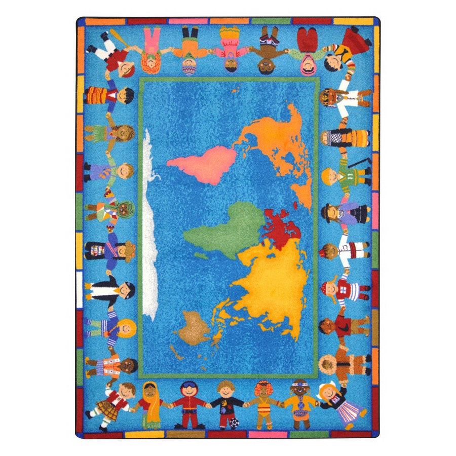 Joy Carpets Hands Around The World 7-ft 8-in x 5-ft 4-in Rectangular Multicolor Educational Area Rug