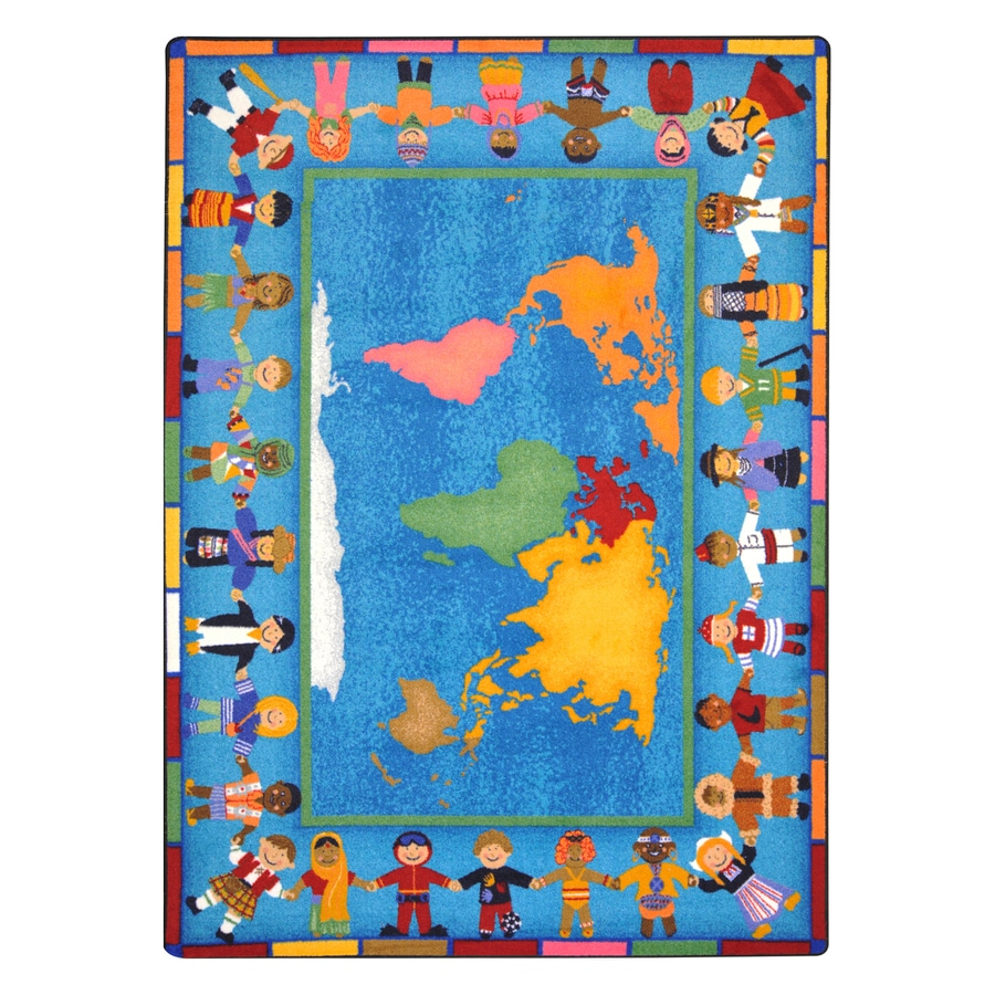 Joy Carpets Hands Around The World Rectangular Indoor Tufted Educational Area Rug (Common: 8 x 11; Actual: 7.66-ft W x 10.75-ft L)
