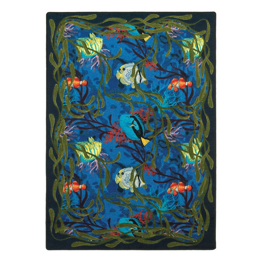 shop joy carpets under the sea blue indoor coastal area rug common 4 x 5 actual w x. Black Bedroom Furniture Sets. Home Design Ideas