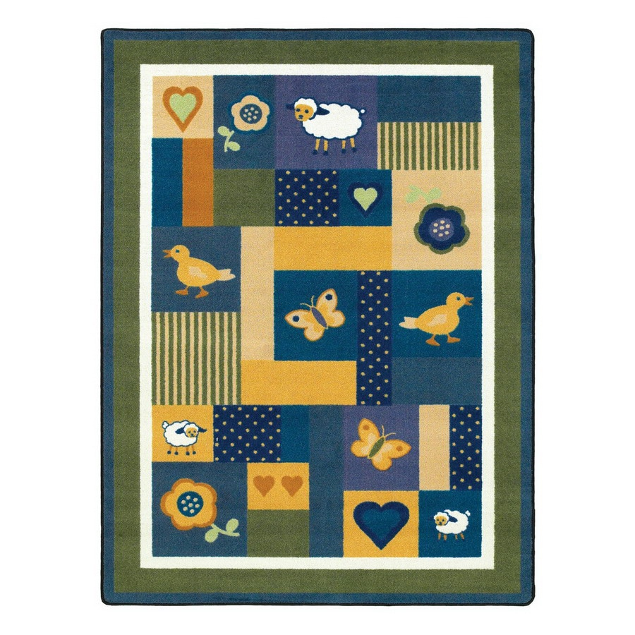 Joy Carpets Baby Love Bold Green Rectangular Indoor Tufted Animals Area Rug (Common: 8 x 11; Actual: 7.66-ft W x 10.75-ft L)