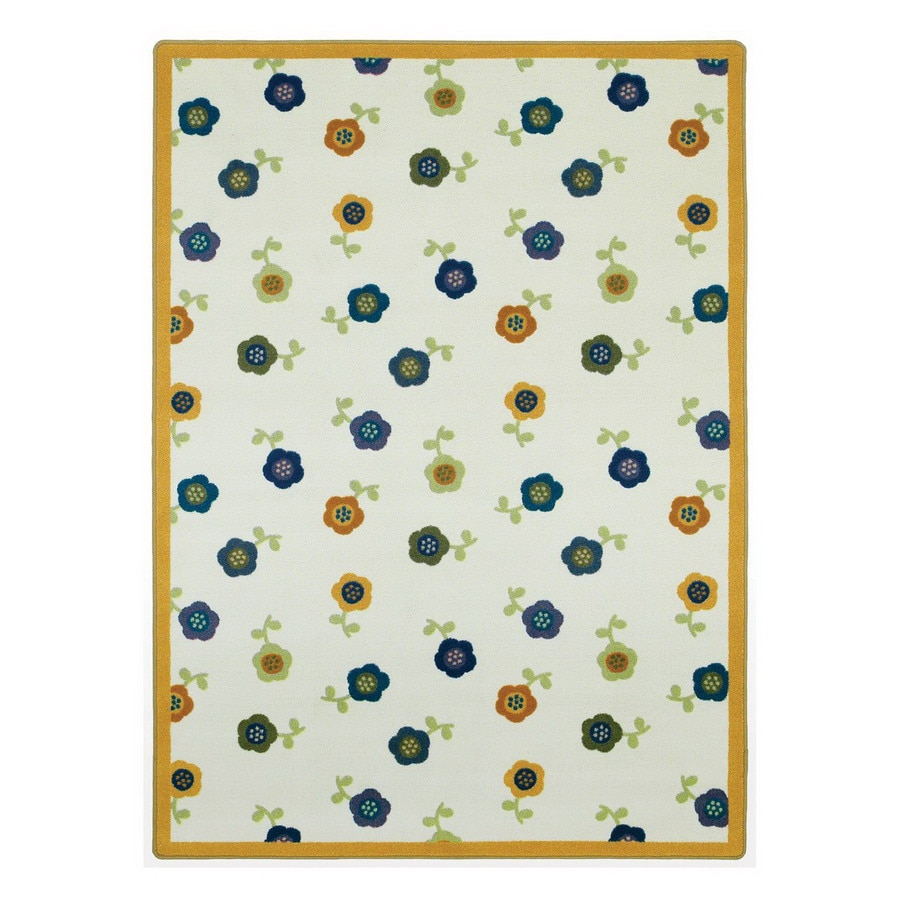 Joy Carpets Awesome Blossom 7-ft 8-in x 5-ft 4-in Rectangular Multicolor Floral Area Rug