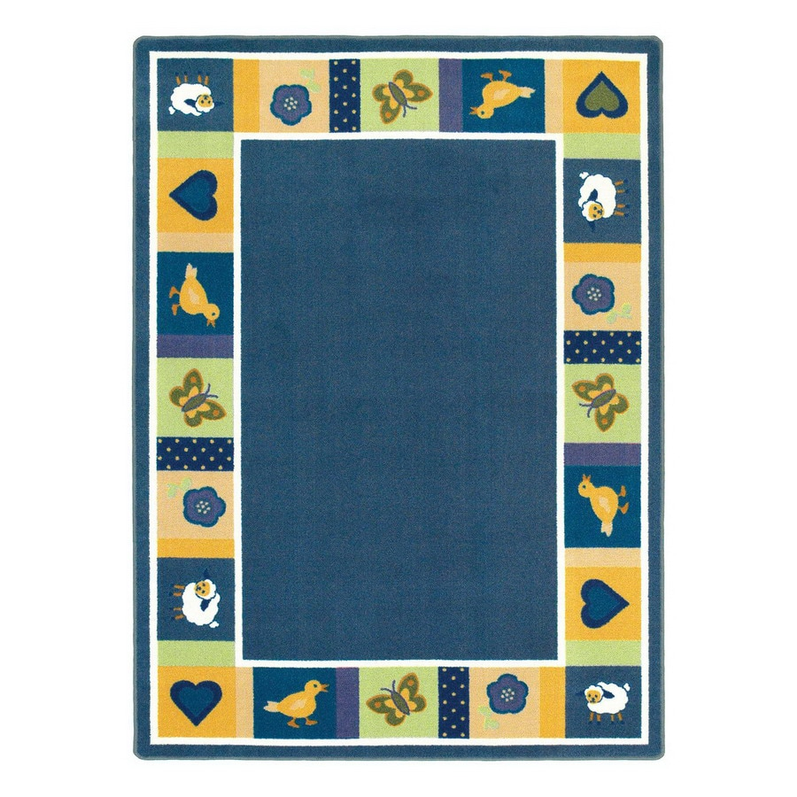 Joy Carpets Baby Blues Bold Blue Rectangular Indoor Tufted Animals Area Rug (Common: 5 x 8; Actual: 5.33-ft W x 7.66-ft L)
