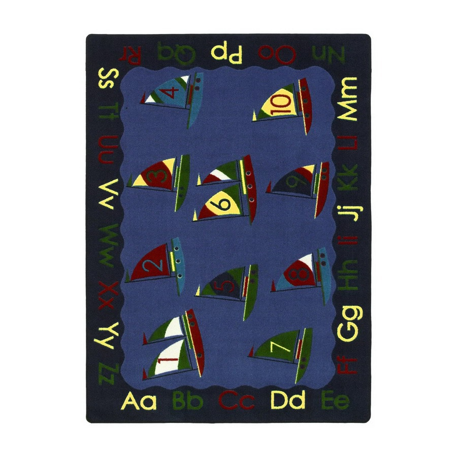Joy Carpets Smooth Sailing 10-ft 9-in x 4-ft 8-in Rectangular Multicolor Educational Area Rug