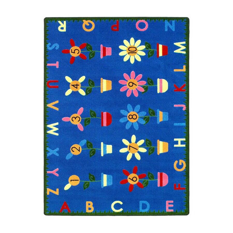 Joy Carpets Petal Pushers 5-ft 4-in x 3-ft 10-in Rectangular Multicolor Educational Area Rug