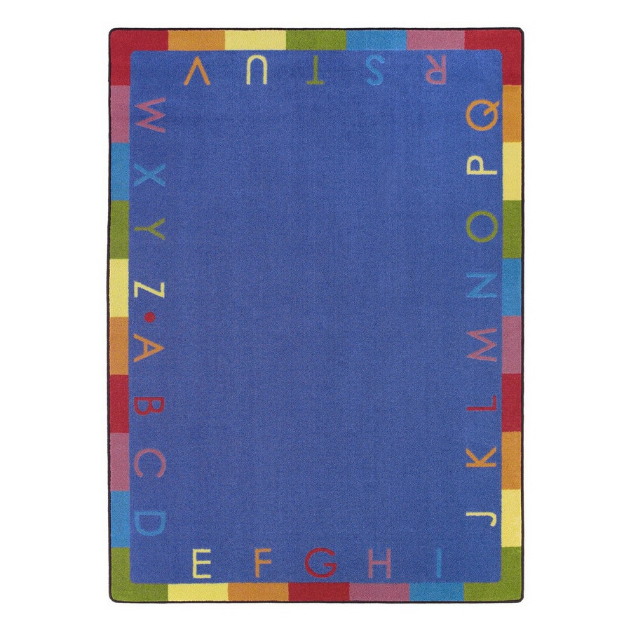 Joy Carpets Rainbow Alphabet Blue Oval Indoor Educational