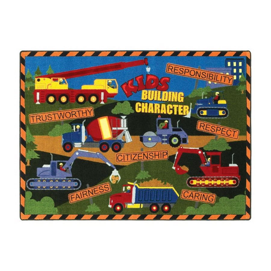 Joy Carpets Kids Building Character Rectangular Indoor Tufted Educational Area Rug (Common: 11 x 13; Actual: 129-in W x 158-in L)