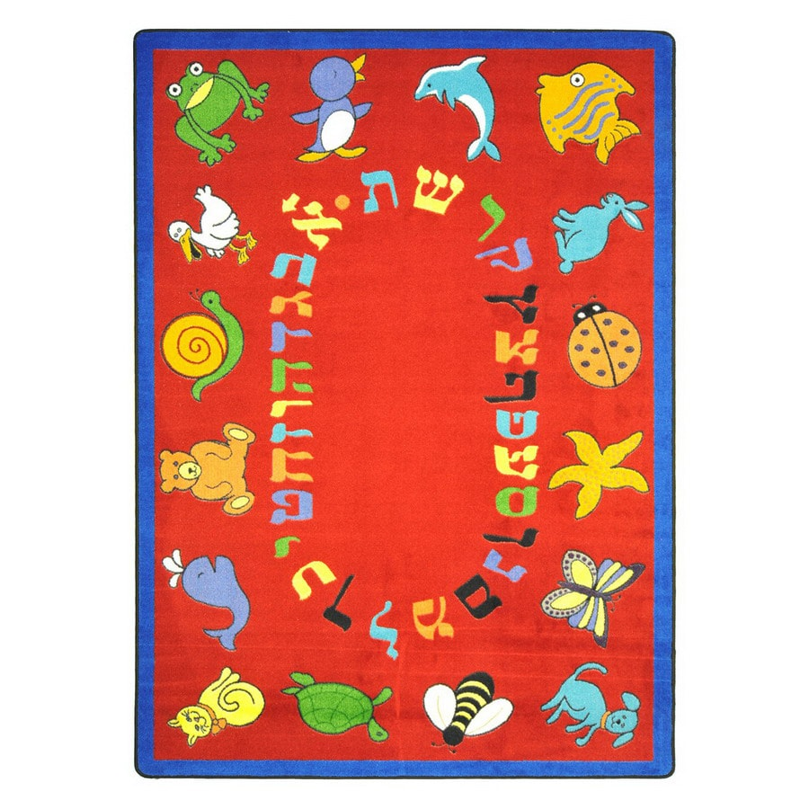 Joy Carpets Abc Animals (Hebrew Alphabet) 10-ft 9-in x 4-ft 8-in Oval Multicolor Religious Area Rug