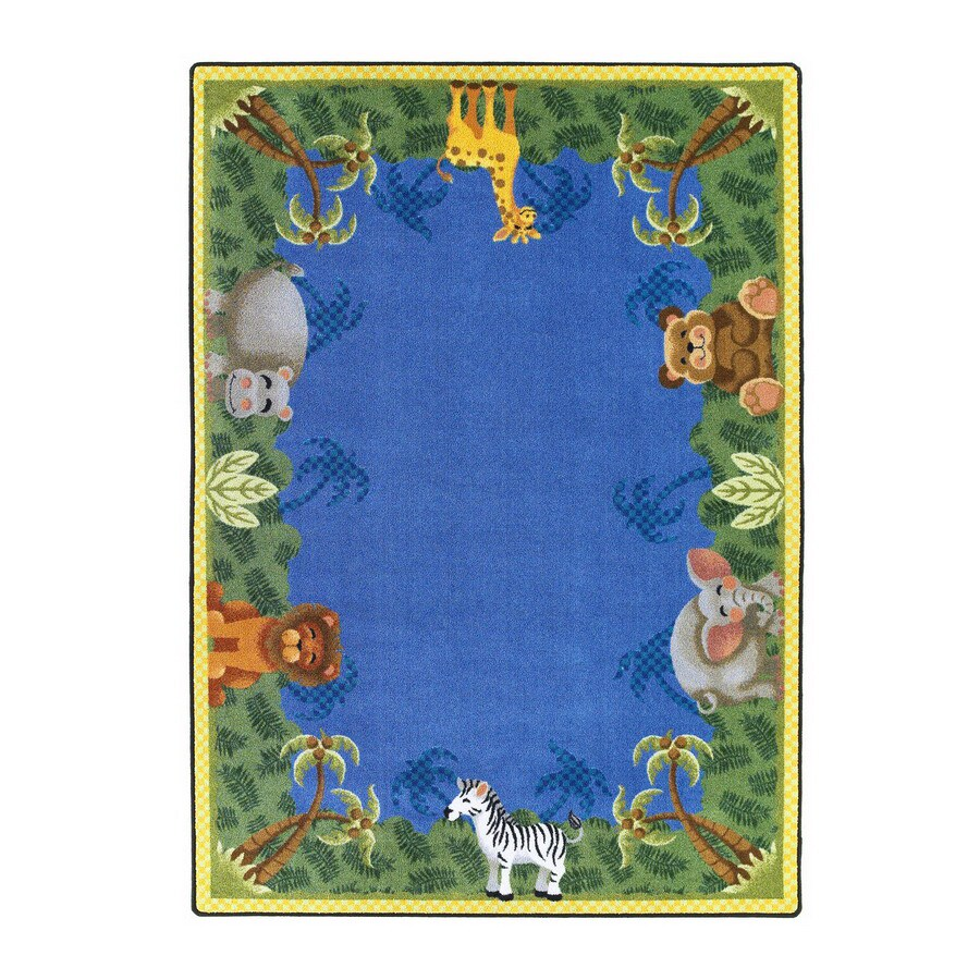 Joy Carpets Jungle Friends Rectangular Indoor Tufted Kids Area Rug (Common: 8 x 11; Actual: 92-in W x 129-in L)