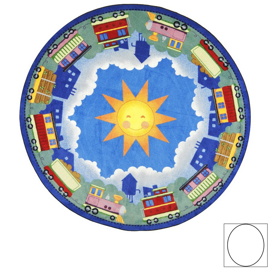 Joy Carpets In Training 5-ft 4-in x 3-ft 10-in Oval Multicolor Vehicles Area Rug