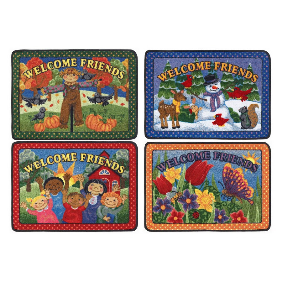 Joy Carpets Welcome Friends 33-in x 23-in Rectangular Multicolor Educational Area Rug