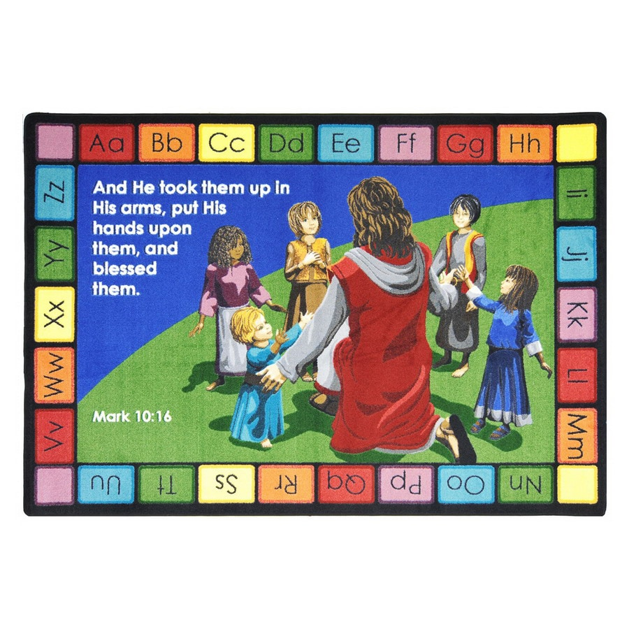 Joy Carpets Into His Arms Rectangular Indoor Tufted Inspirational Area Rug (Common: 5 x 8; Actual: 5.33-ft W x 7.66-ft L)
