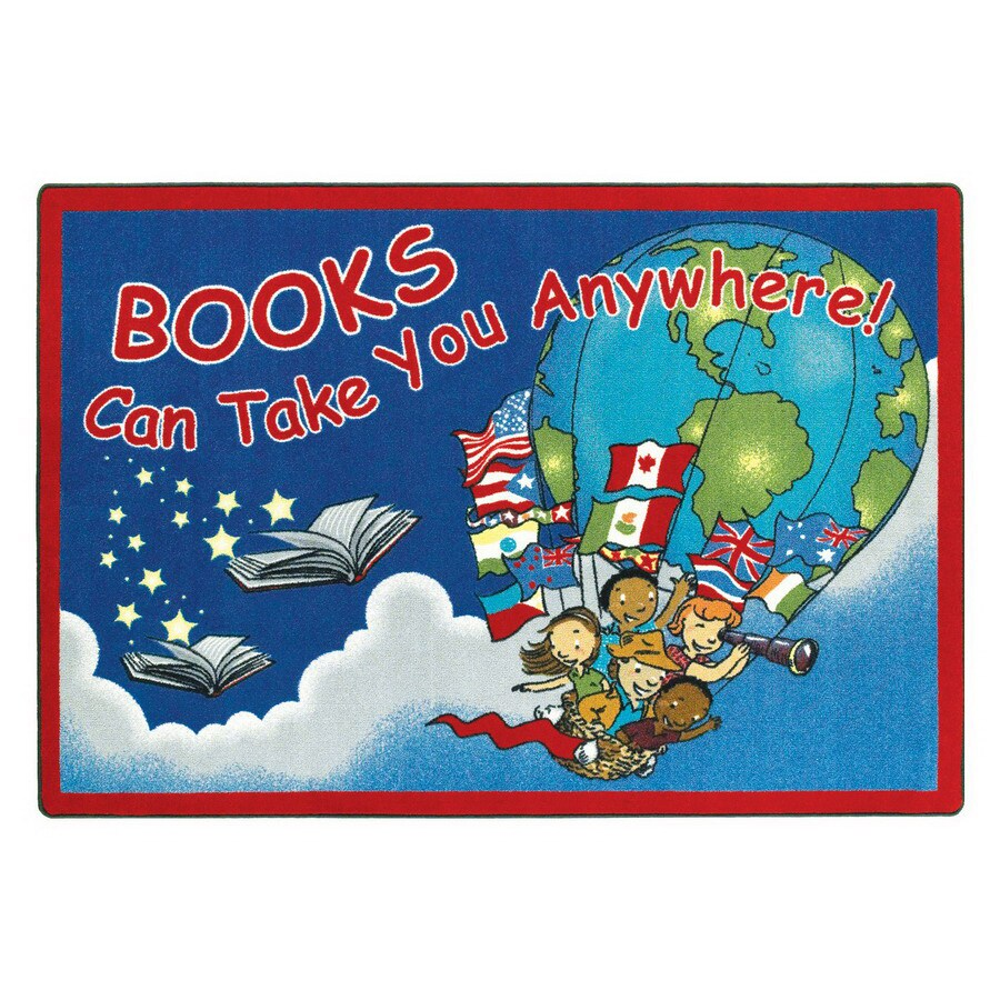 Joy Carpets Books Can Take You Anywhere Educational Area Rug (Common: 5 x 8; Actual: 5.33-ft W x 7.66-ft L)