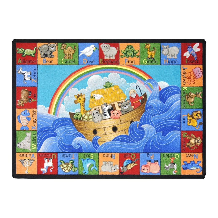 Joy Carpets Noahs Alphabet Animals Rectangular Indoor Tufted Kids Area Rug (Common: 5 x 8; Actual: 64-in W x 92-in L)