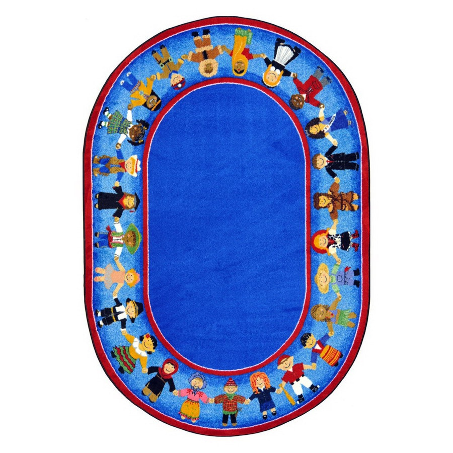 Joy Carpets Children Of Many Cultures Oval Indoor Tufted Kids Area Rug (Common: 5 x 8; Actual: 5.33-ft W x 7.66-ft L)