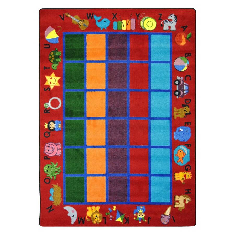 Joy Carpets Alphabet Phonics 7-ft 8-in x 5-ft 4-in Rectangular Multicolor Educational Area Rug