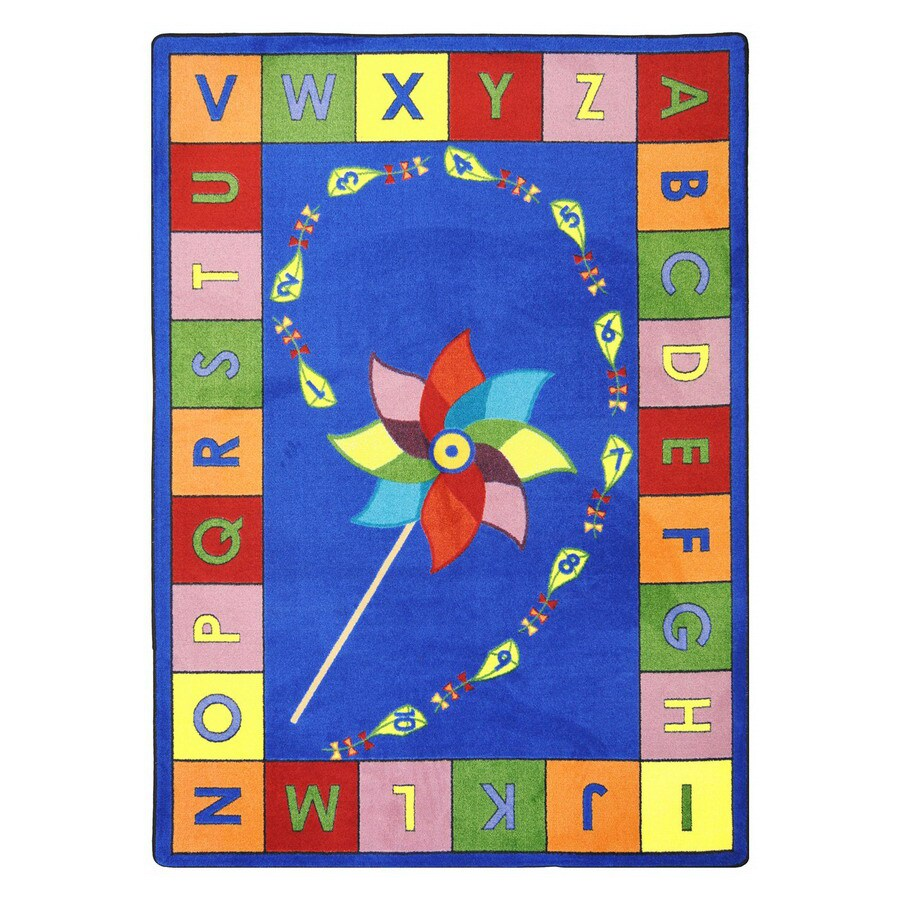 Joy Carpets Alphabet Pinwheel 7-ft 8-in x 5-ft 4-in Rectangular Multicolor Educational Area Rug