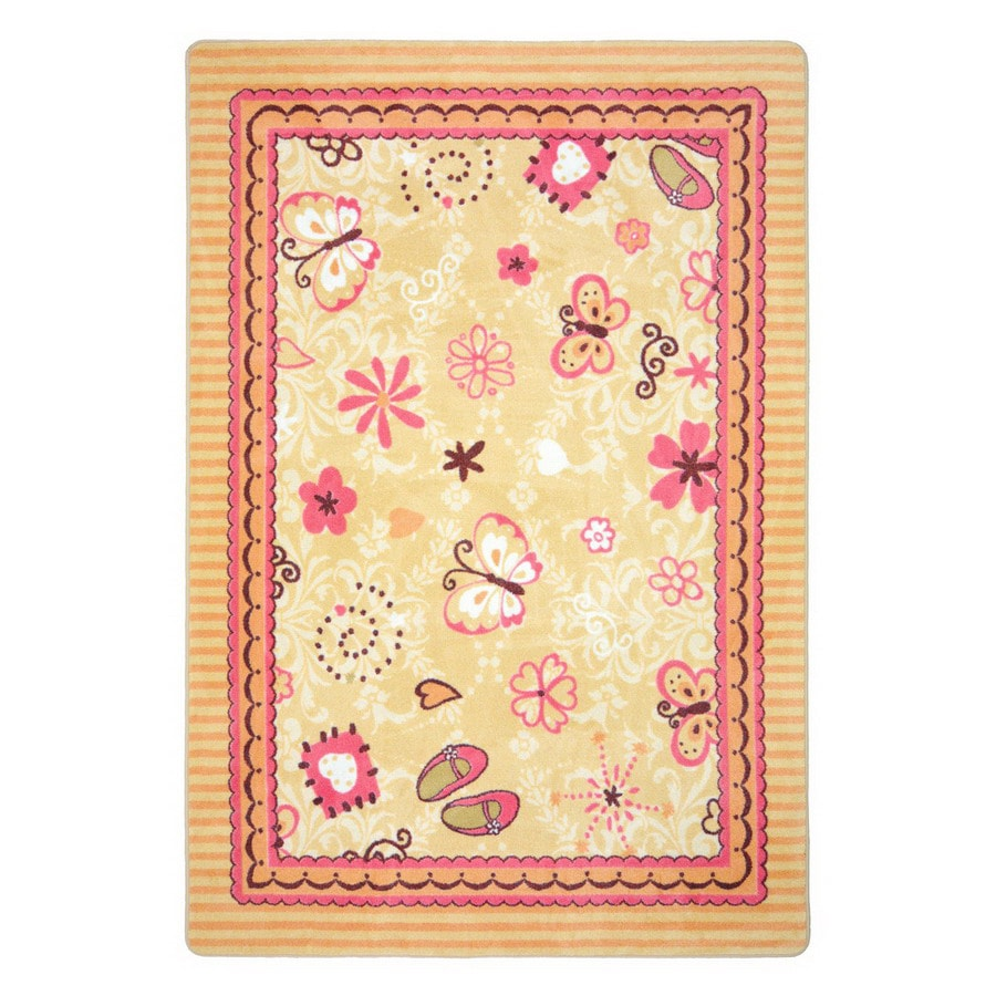 Joy Carpets Hearts and Flowers Rectangular Indoor Tufted Kids Area Rug (Common: 5 x 8; Actual: 5.33-ft W x 7.66-ft L)