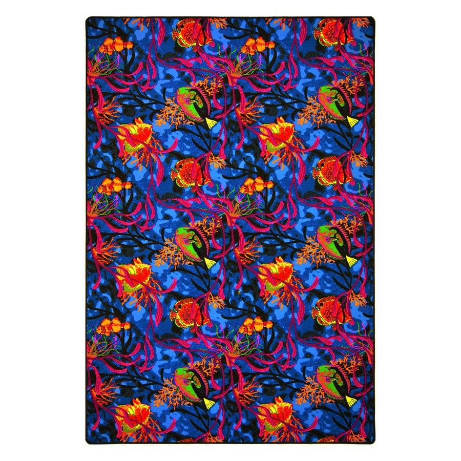 Joy Carpets Under the Sea 9-ft x 6-ft Rectangular Multicolor Transitional Area Rug