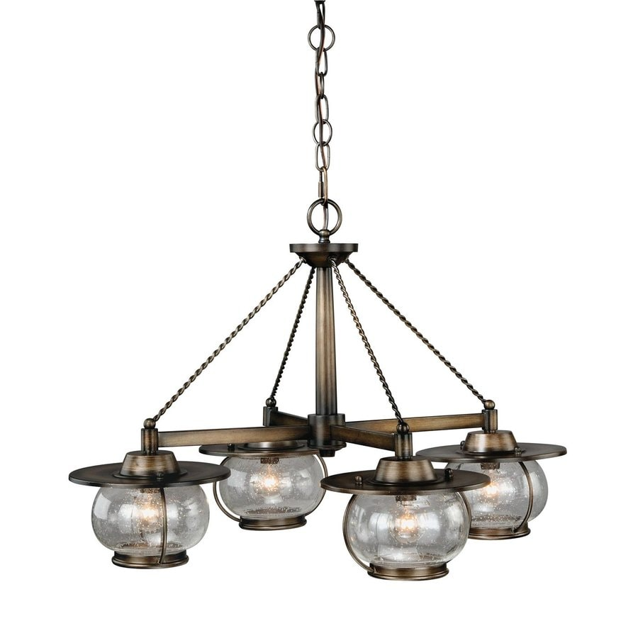 Cascadia Lighting Jamestown 27.5-in 4-Light Parisian bronze Barn Seeded Glass Shaded Chandelier