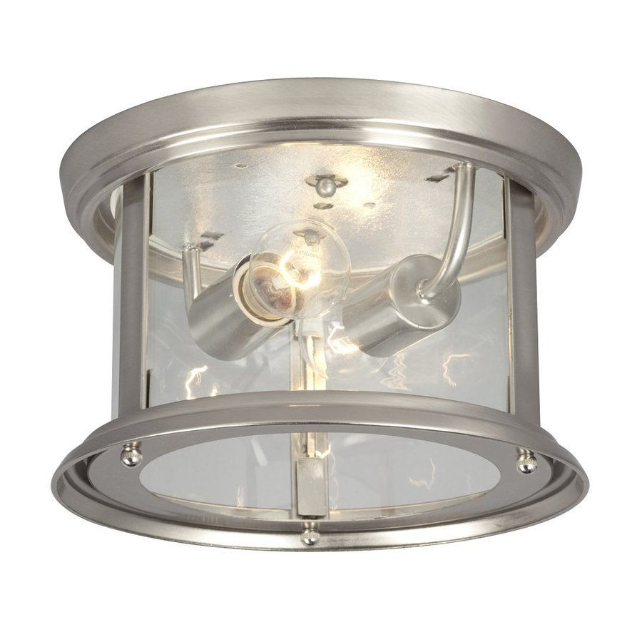 Galaxy Huntington 10-in W Brushed nickel Flush Mount Light