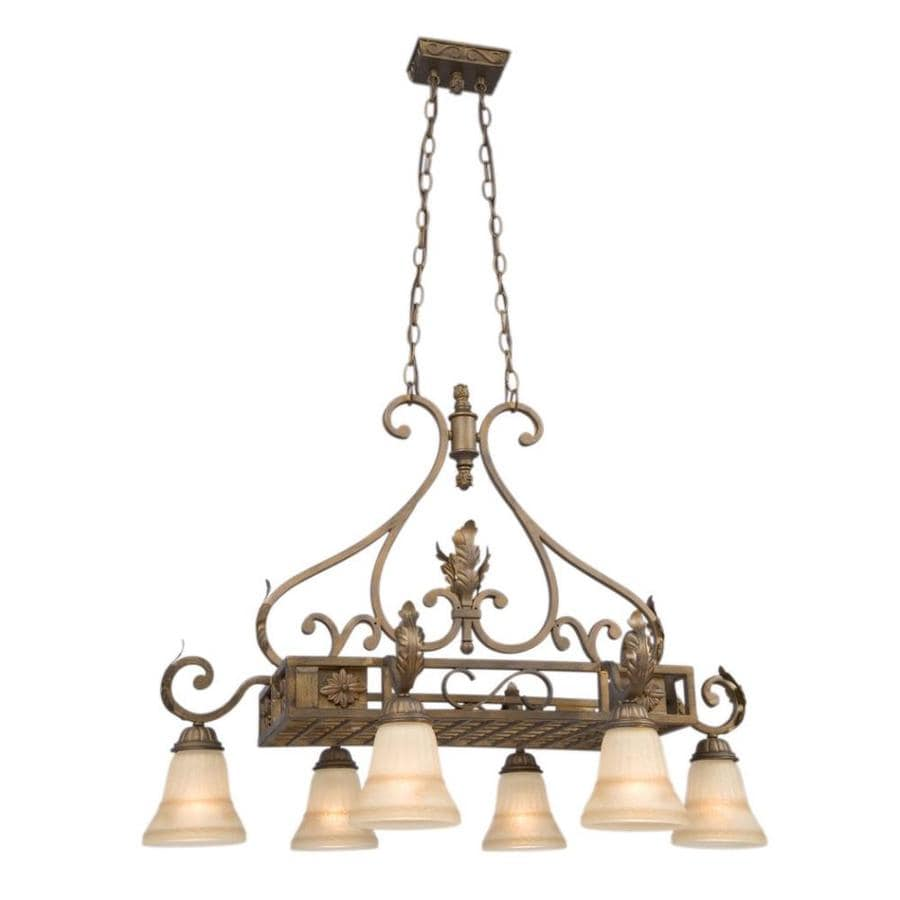 Galaxy 33.75-in W 6-Light Aged Rubbed Bronze Kitchen Island Light with Tinted Shade
