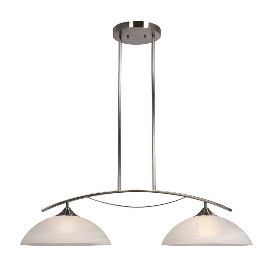 Galaxy Metro 34.37-in W 2-Light Brushed Nickel Kitchen Island Light with White Shade