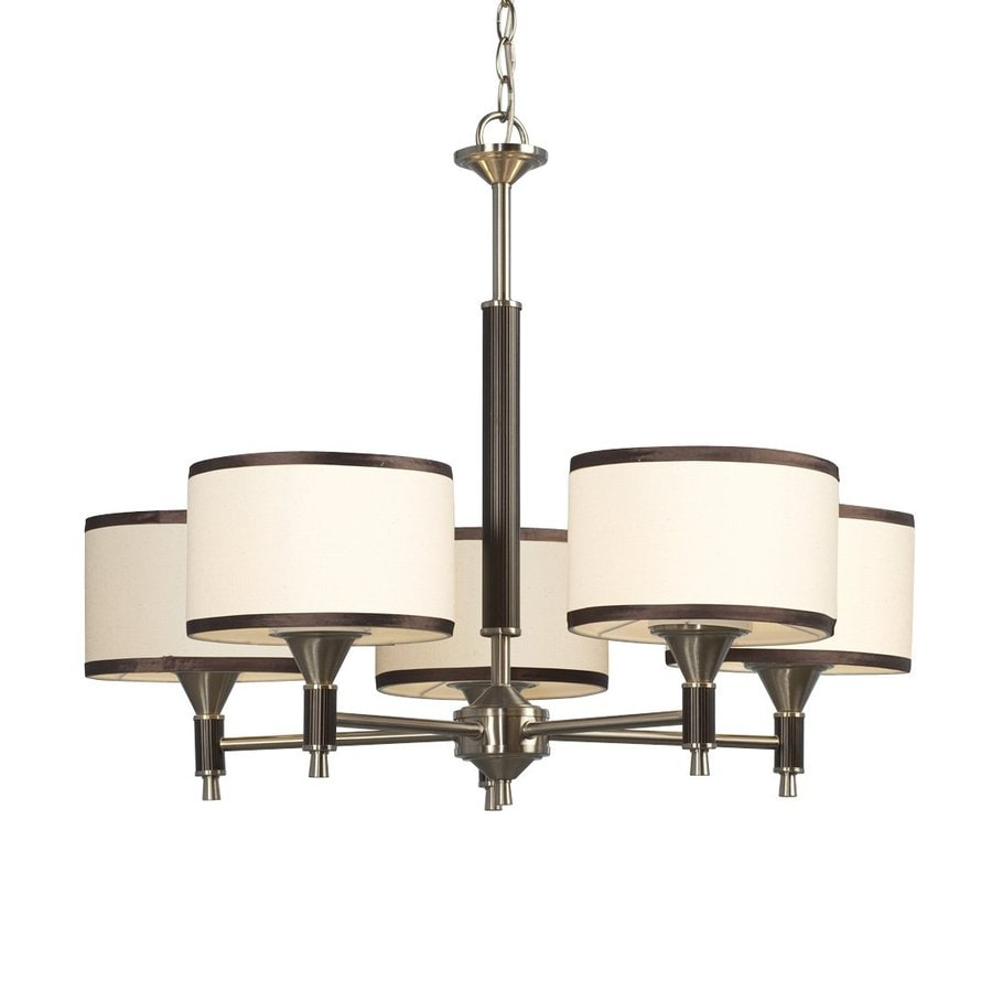 Galaxy Westbrook 28-in 5-Light Brushed Nickel Shaded Chandelier